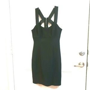 GUESS M Black Body Con Exposed Zipper Sexy Dress